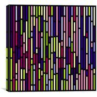 Abstract Split Stripes - 1 - Black Background, Canvas Print