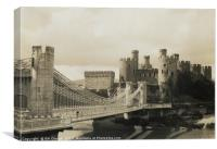 Conwy Castle in Wales - View Across the Bridge, Canvas Print