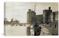 Caernarfon Castle View Along the Water 1940, Canvas Print