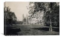 Kings College Cambridge - Views Across Lawn 1938, Canvas Print