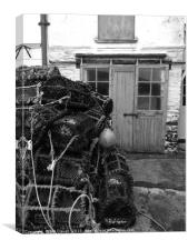 Old Rustic Building By the Sea with Crab Pots, Canvas Print