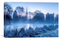 Cold blue View of Salisbury Cathedral, Canvas Print