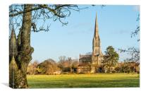 cathedral View across the water meadows, Canvas Print