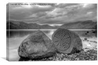 Millennium Stone, Derwent Water, Cumbria, Canvas Print