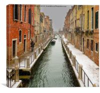 VENETIAN CANAL IN THE SNOW, Canvas Print