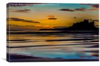Sunrise Reflections At Bamburgh, Canvas Print