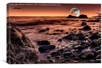 Moonrise Over Seaham's Chemical Beach, Canvas Print