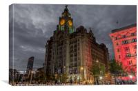 Liver building Liverpool pier head, Canvas Print