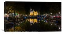 Amsterdam at night canal, Canvas Print