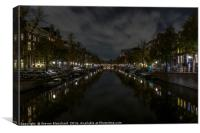 Amsterdam central canal at night , Canvas Print