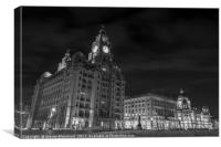 3 graces Liverpool black and white, Canvas Print