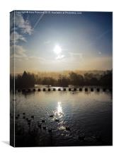 A misty morning over the river calder, Canvas Print