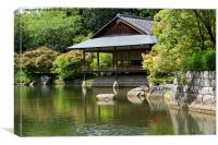 Japanese garden and ceremonial house, Canvas Print