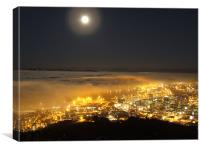 Fullmoon Fog Cape Town Landscape night, Canvas Print