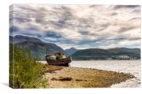 Corpach Wreck with Ben Nevis , Canvas Print