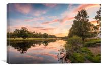 Sun Setting on the Spey at Newtonmore, Canvas Print