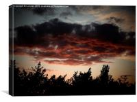 A Shropshire Sunset, reflected on dark clouds, Canvas Print