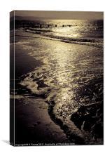 Sunset at Rhyl beach in summer, Canvas Print