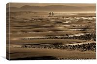 Sunset beach walk, Canvas Print