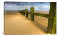 Wave breakers at sunny beach, Canvas Print