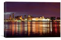 Liverpool Skyline Reflections from Woodside, Canvas Print