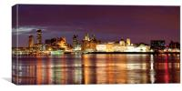 Liverpool Skyline Reflections from Woodside Panora, Canvas Print