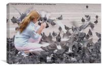 Girl with Pigeons III, Canvas Print