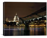 Millennium Bridge and St Paul's Cathedral at Nigh, Canvas Print