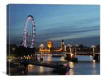 westminster and southbank sunset, Canvas Print