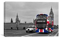 Union Jack Bus and Big Ben, Canvas Print