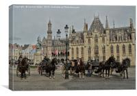 Carriage rides in Bruges, Canvas Print
