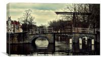 Bruges canal bridge, Canvas Print