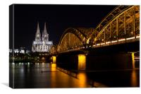 Cologne at Night, Canvas Print