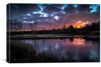icy pond at sunrise, Canvas Print