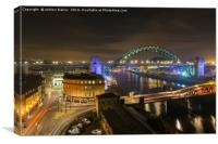 Newcastle Quayside at night from High Level Bridge, Canvas Print