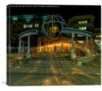 Wire wool Spinning on Newcastle Quayside, Canvas Print