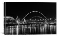 The Tyne Brides at night, Canvas Print