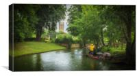 Punting in the rain, Canvas Print