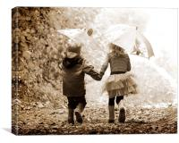 Children holding hands in sepia woods by Russell S, Canvas Print