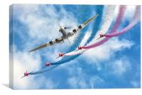 Spitfire leads the Red Arrows Display, Canvas Print