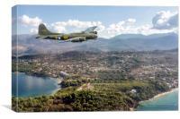 Memphis Belle over Greek Island, Canvas Print