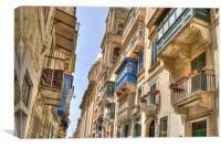 Balconies in Valletta, Canvas Print