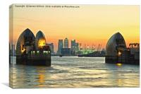 Thames Barrier At Sunset, Canvas Print