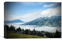 Switzerland Mountains with low cloud, Canvas Print