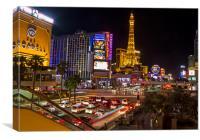 Las Vegas strip at night, Canvas Print