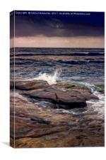Waves Splash On The Rocks At Sunset, Canvas Print