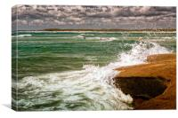 Waves And Surfers, Canvas Print
