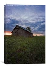 Sunset Clouds And An Old Barn House, Canvas Print
