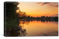 Sunset By The River Kemijoki, Canvas Print