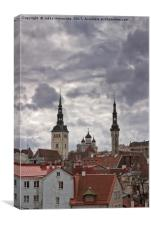 Cathedral Behind The Old Houses, Canvas Print